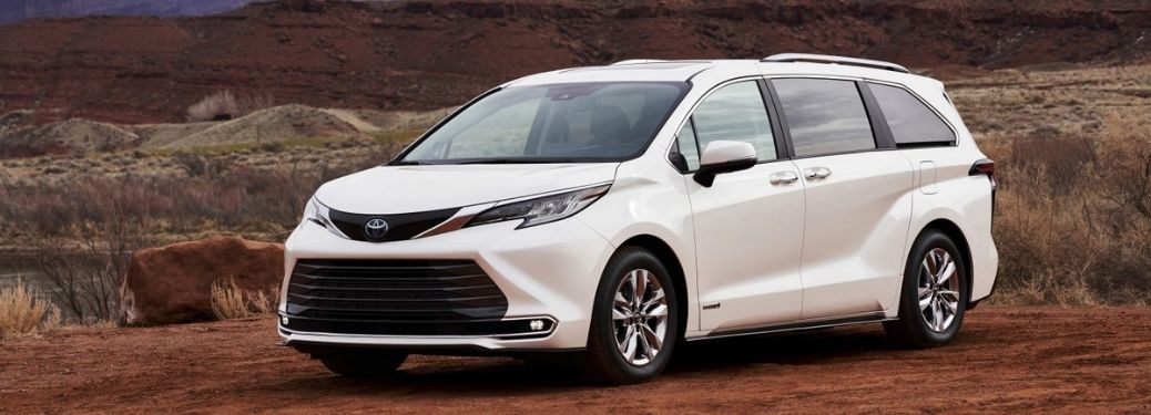 2021 Toyota Sienna Front Left-Quarter View Parked in a Desert