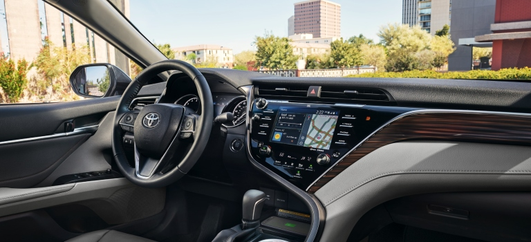 2019 Toyota Camry infotainment screen and dashboard