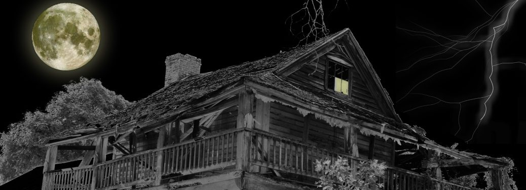 haunted house with a full moon in the sky