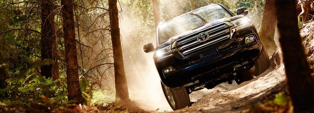 2019 Toyota Land Cruiser black front view on a trail
