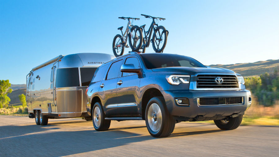 2019 Toyota Sequoia Exterior Passenger Side Front Profile while Towing