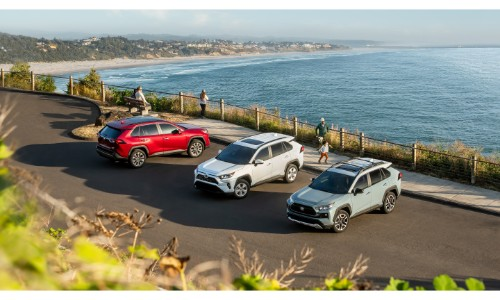 2019 Toyota RAV4 red, white, and mint models exterior overhead shot near a long stretch of beach and ocean