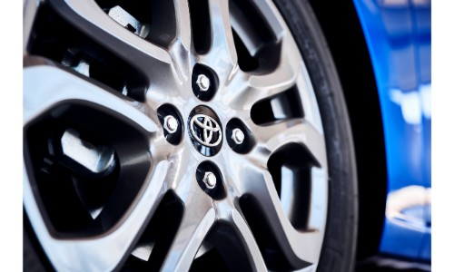 2020 Toyota Yaris Hatchback exterior closeup shot of tire and wheel design with Toyota badge