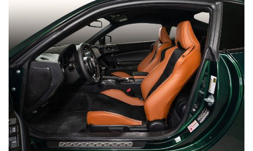 2020 Toyota 86 Hakone Edition interior side shot of front seating orange upholstery and cabin space organization