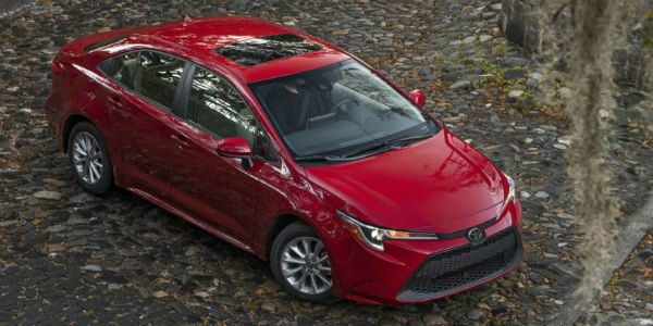 Overhead view of red 2020 Toyota Corolla