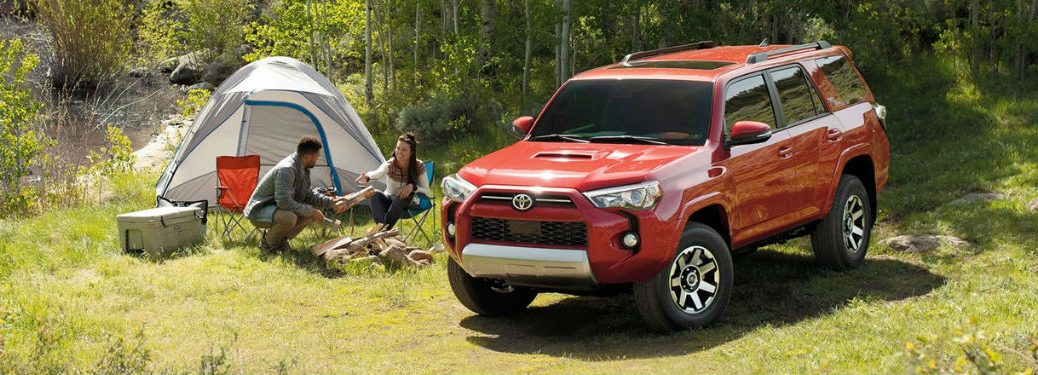 2020 Toyota 4Runner in red next to tent