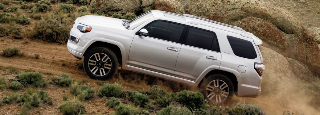 2020 Toyota 4Runner in white driving up hill