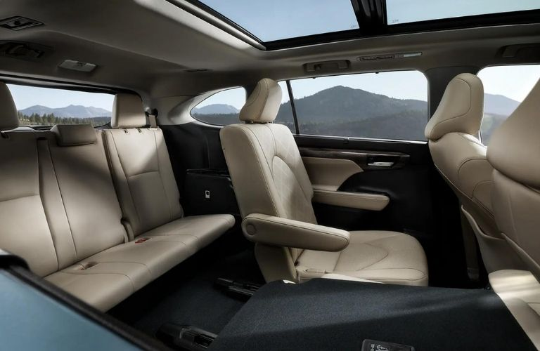 The view of the second and third row seats of the 2021 Toyota Highlander.