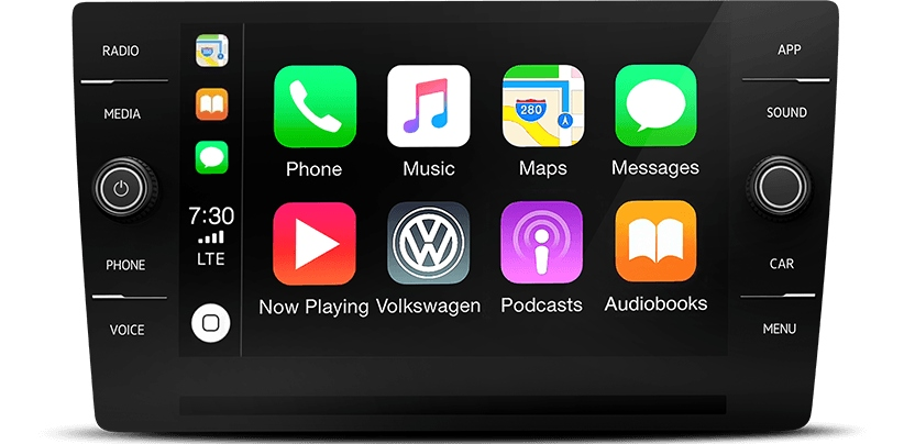 Closeup view of Apple CarPlay ona 2019 Volkswagen Arteon
