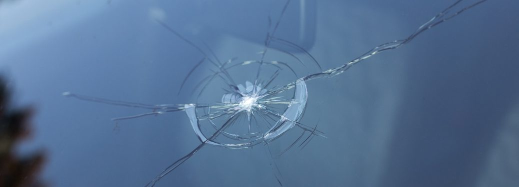 A cracked windshield