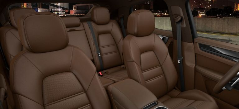 2020 Porsche Cayenne Coupe club leather interior in Truffle Brown and Cohiba Brown