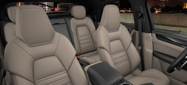 2020 Porsche Cayenne Coupe leather trim with leather seats in Black and Mojave Beige