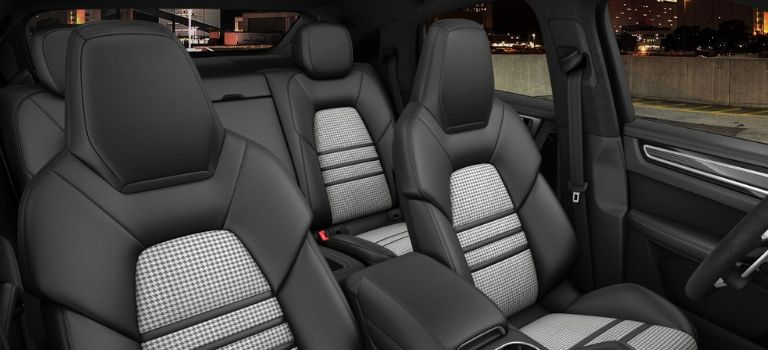2020 Porsche Cayenne Coupe leather trim with leather seats in Black and Silver Houndstooth