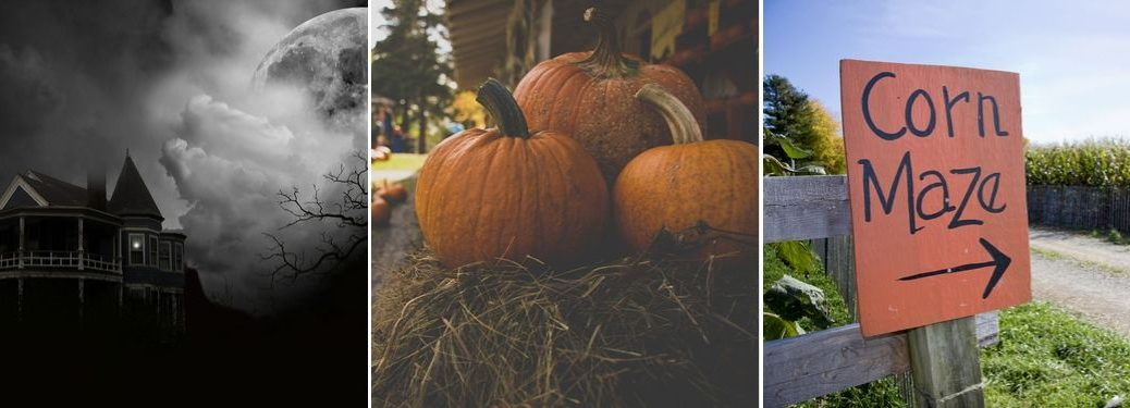 Creepy House at Night, Close Up of Pumpkins on a Hay Bale and Orange Corn Maze Sign with Arrow
