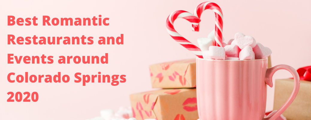 """Pink mug with heart-shaped candy cane and """"Best Romantic Restaurantsand Eventsaround Colorado Springs 2020"""" red text"""