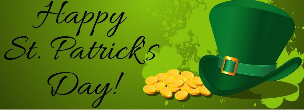 """Green top hat with pile of gold and """"Happy St. Patrick's Day!"""" black text"""