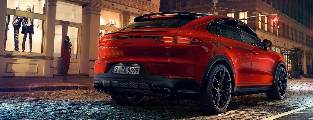Rear view of red 2020 Porsche Cayenne Coupe