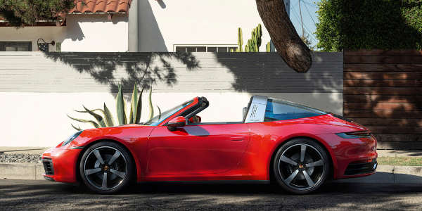 Red 2021 Porsche 911 Targa with roof down