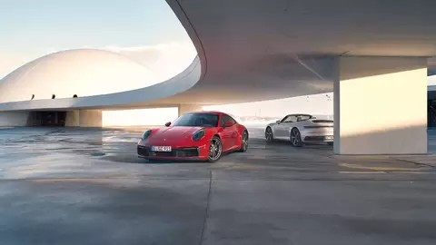 Red and silver 2021 Porsche 911 models