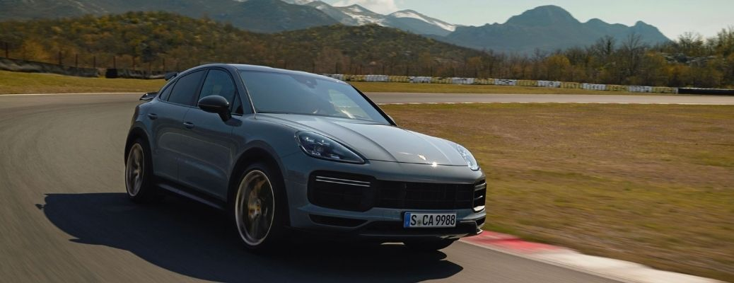 The new 2022 Porsche Cayenne Turbo GT in action