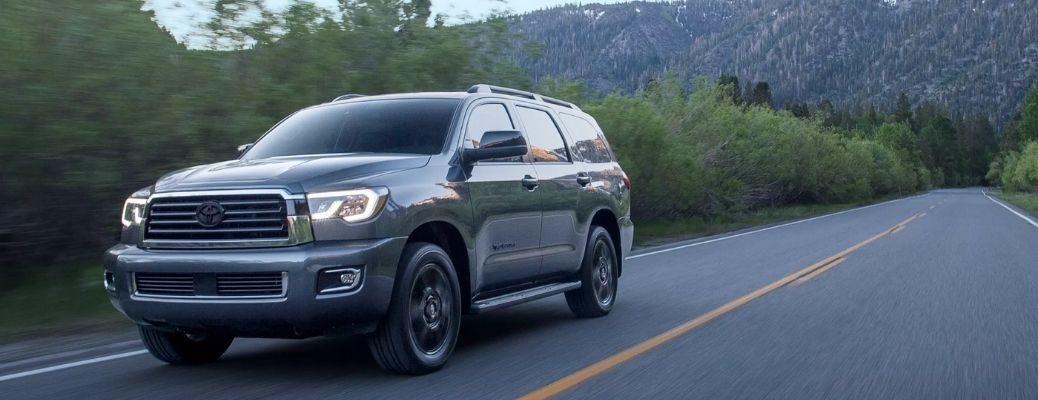 Gray 2022 Toyota Sequoia cruising on a road. What are the external paint options?