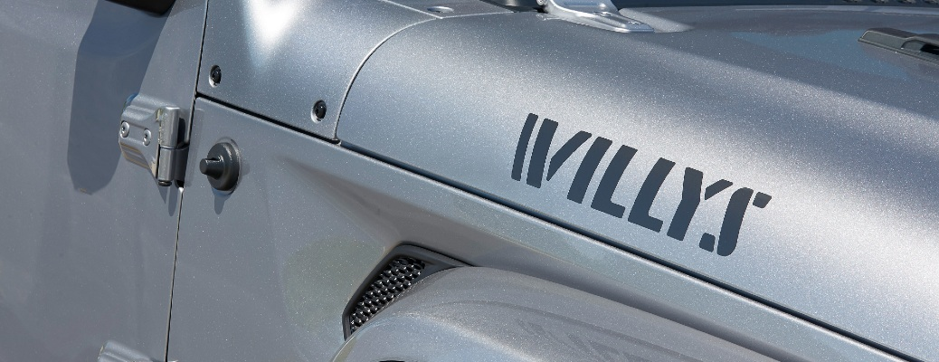"""""""Willys"""" decal on the front side of a 2021 Jeep Gladiator"""