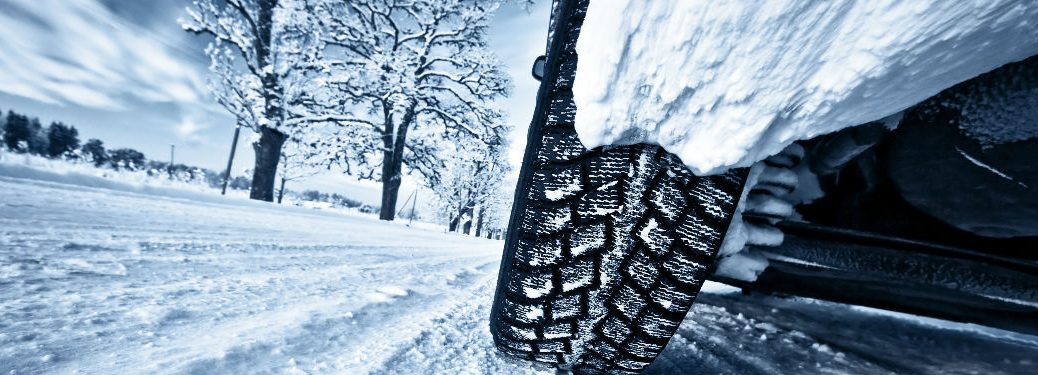 Tire on snowy road