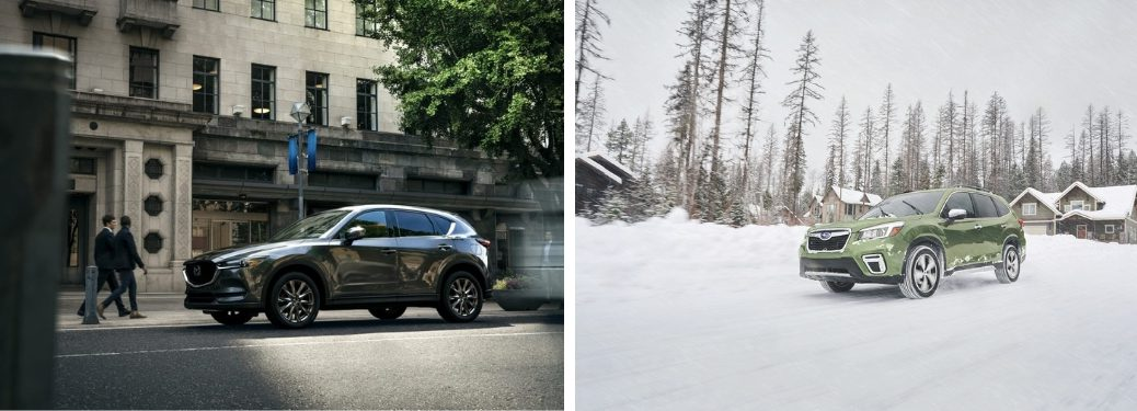 2019 Mazda CX-5 and 2019 Subaru Forester front of both models