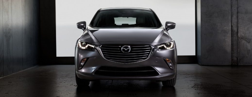 A head-on photo of a Mazda crossover SUV.