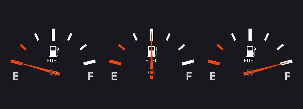 illustration of three gas tank gauges one on empty one at half tank and one at full