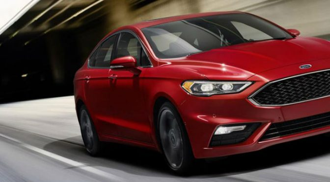 2017 Ford fusion in red