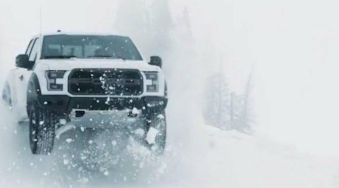 Raptor driving in the snow