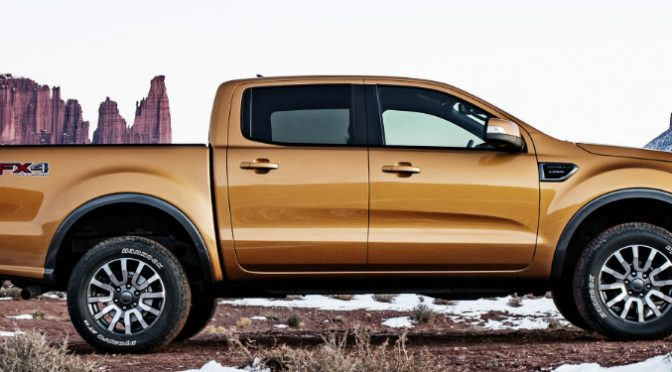 Orange 2019 Ford Ranger with a Snowy Mesa in the Background