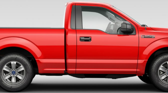 Side View of Red 2018 Ford F-150 XL