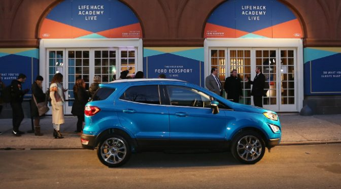 Blue 2018 Ford EcoSport Parked by Life Hack Academy in New York City