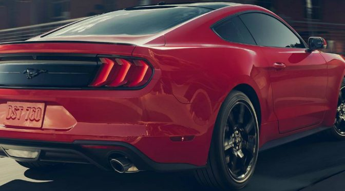Rear View of Red 2018 Ford Mustang