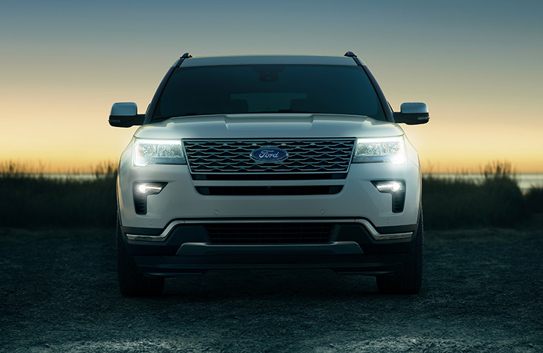 Front view of white 2019 Ford Explorer