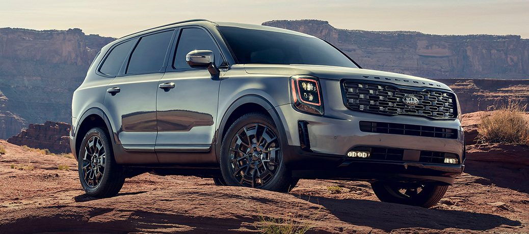 2022 Kia Telluride parked on a hull top