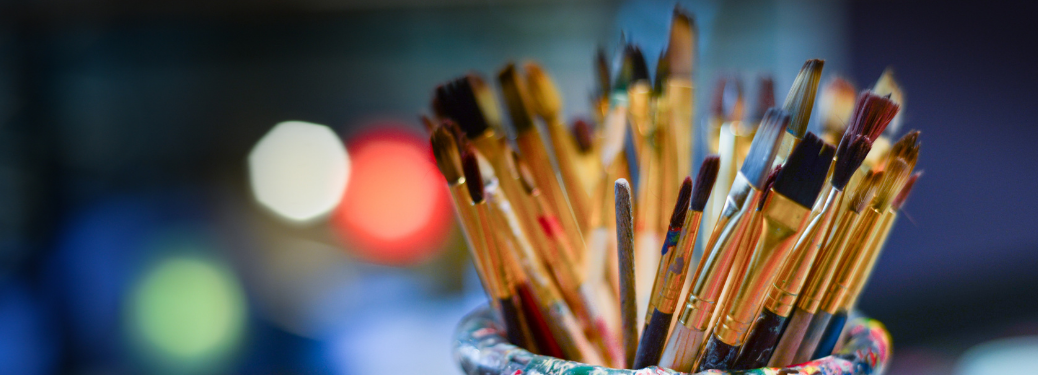 Close-up on a jar of paintbrushes