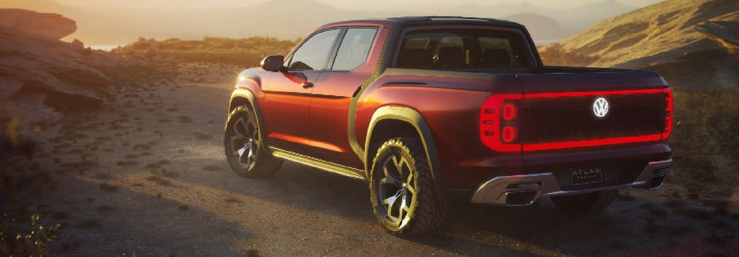 rear view of 2018 volkswagen atlas tanoak pickup truck concept with led lights