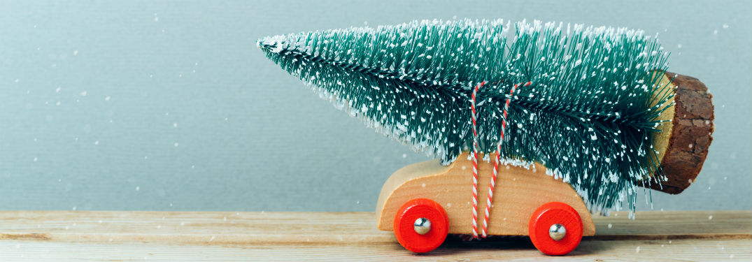Toy car with Christmas tree strapped on top