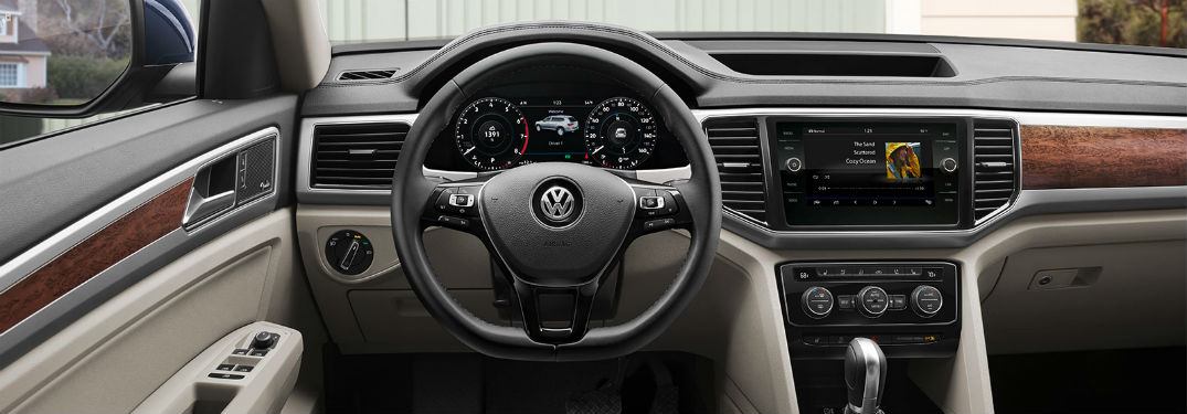 2019 VW Atlas interior front cabin steering wheel and partial dashboard