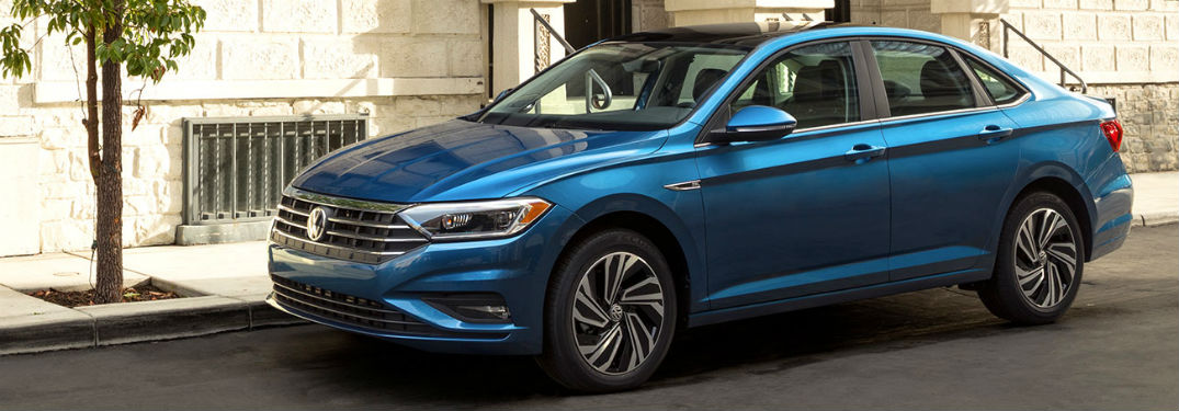 2019 VW Jetta exterior front fascia and drivers side parked on curb