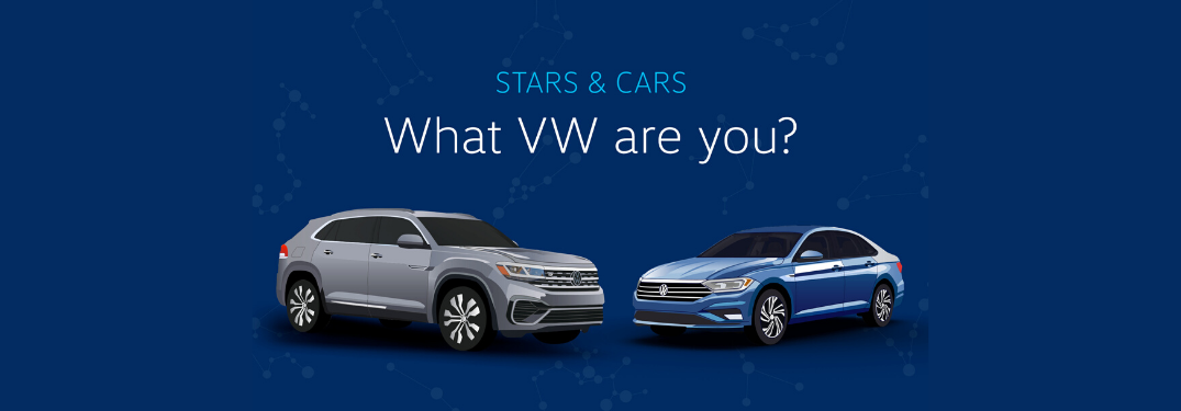 two Volkswagen models with text saying What VW are you?