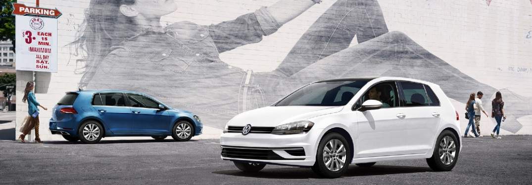 two 2020 VW Golf vehicles parked next to each other