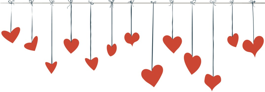 hearts hanging from string