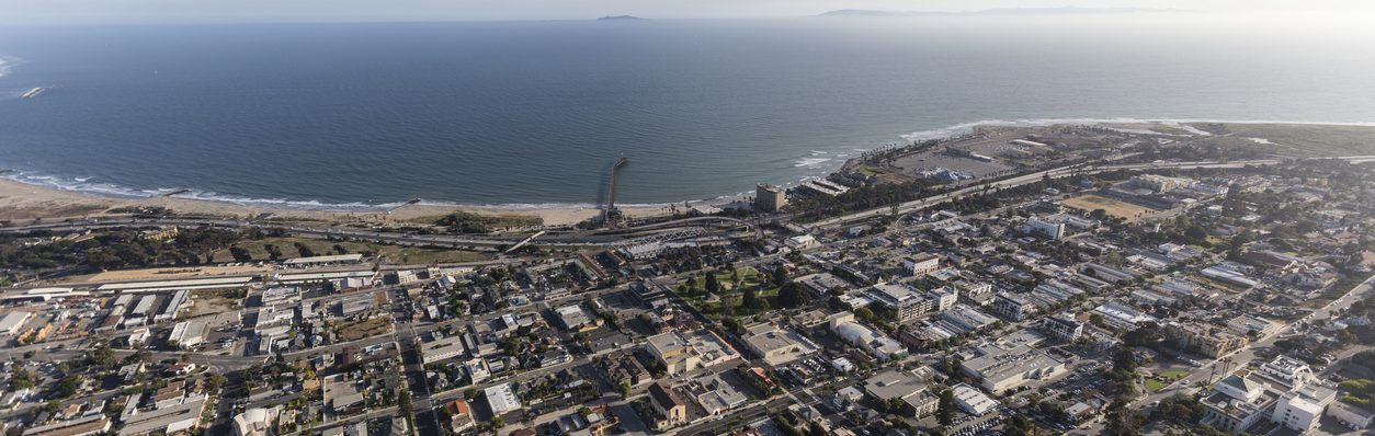 Aerial view of downtown Ventura and the Pacific Ocean in Southern California.