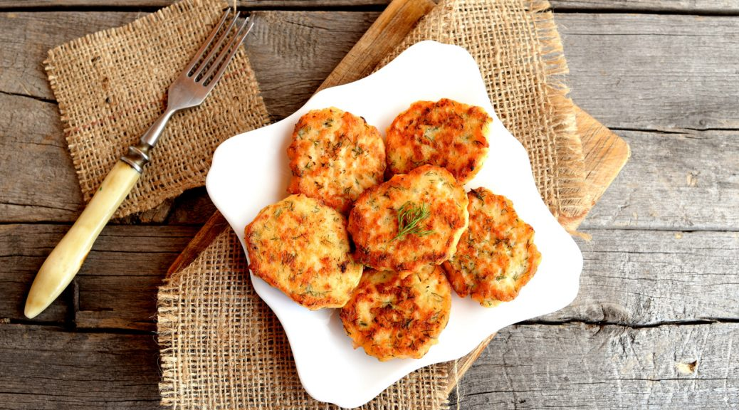 Fried fish cakes on a plate