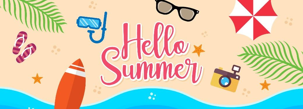 Hello summer written on a beach covered in sunglasses, goggles, sandals, beach ball, and a camera