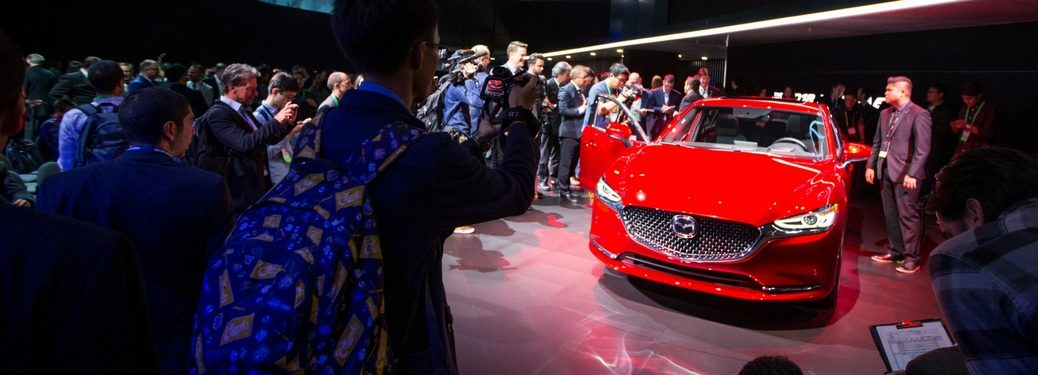 2018 mazda6 is revealed in front of a crowd